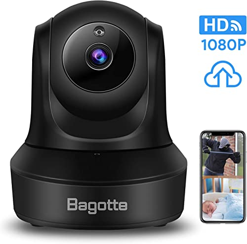 WiFi Security Camera, Bagotte 1080P HD Home Wireless IP Camera, Surveillance Cloud Cam Features Night Vision 2-Way Audio Motion Detection 128G Memory Card Slot for Baby Monitor Pet Dog Security