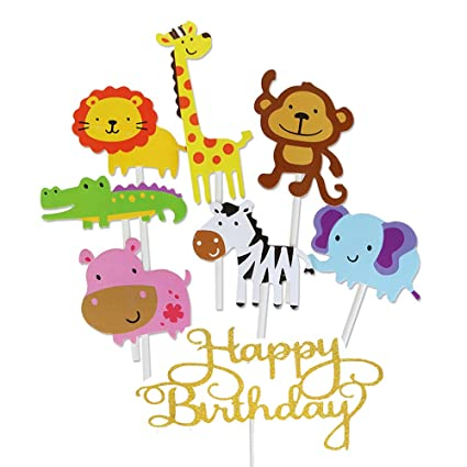 Amazon Jatidne 30 Pack Zoo Animal Cupcake Toppers Safari Jungle Themed Cake Topper For Birthday Baby Shower Party Decoration Toys Games