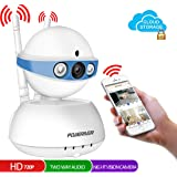 Security Camera,POWERIVER WiFi IP Indoor Security System with Motion Detection, Two-Way Audio & Night Vision for Baby / Pet / Front Porch Monitor, Remote Control with iOS, Android, PC App(Blue)