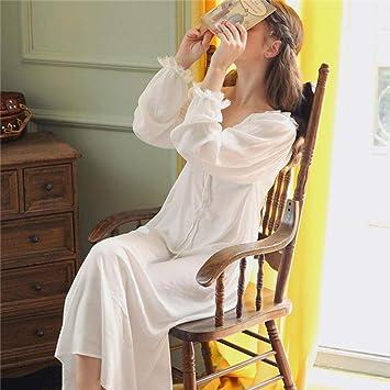 LSJSN Pijama Camisa De Noche Blanca De Algodón con Cuello En V Sexy Ropa De Dormir Vestido De Casa Vintage Princesa Ropa De Dormir Señoras Camisón-White_S: Amazon.es: Deportes y aire libre