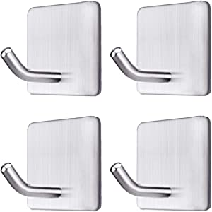 WeTest Hanging Towel Hooks 304 Stainless Steel Wall Adhesive Hooks for Bathroom, Kitchen and Office, Heavy Duty Bathroom Hooks, Key Hook Stick on Wall (4 Packs) 2019 (LJ-JSL-102305)