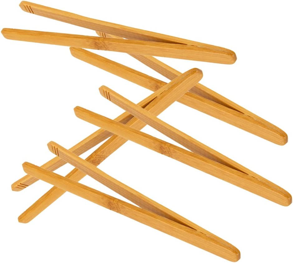 Desconocido 5pcs Pinzas Recta de Madera Bambú Antiestática Herramientas para Micro Paisaje de Jardín