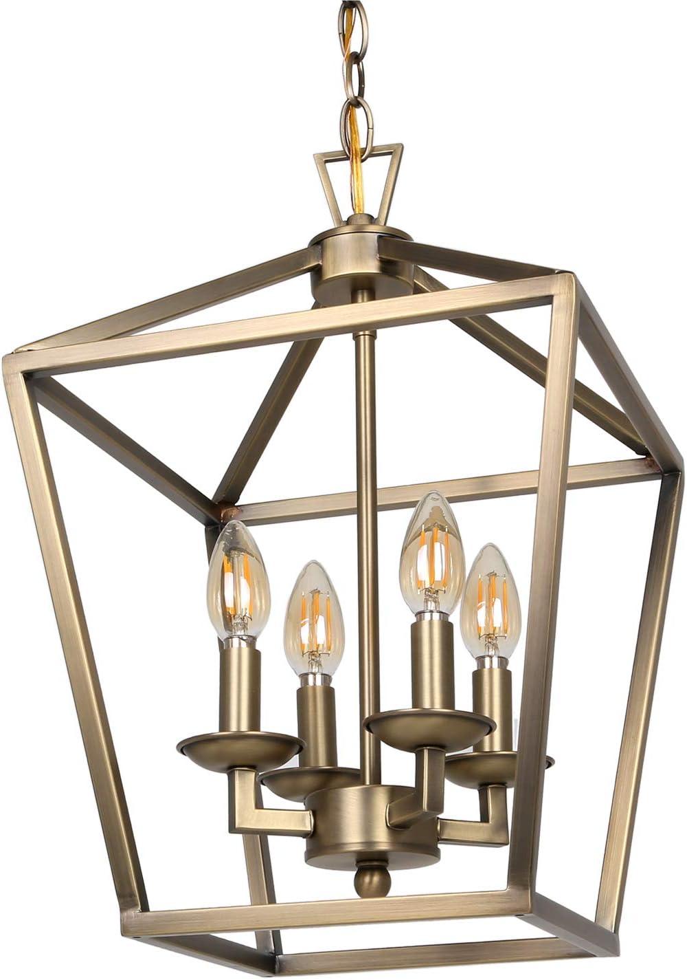 "Hykolity 4-Light Chandelier Ceiling Light Fixture, Metal Lantern Pendant Lighting for Hallway, Entryway and Dinning Room, 18"" H x 12"" W, Soft Gold Finish, ETL Listed"