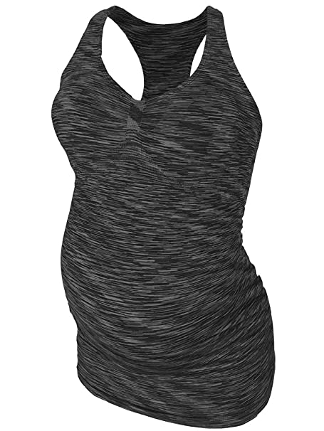 2877dd0be4a48 Amazon.com: CLOYA Maternity Activewear Workout Tank Tops Pregnancy Women Yoga  Clothes Seamless Racerback: Clothing