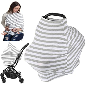 Nursing Cover for Breastfeeding, Baby Car Seat Covers, Multi Use Infant Stroller Cover Carseat Canopy, High Chair Cover, Shopping Cart Cover for Babies Boys&Girls Shower Gifts (Stripe)