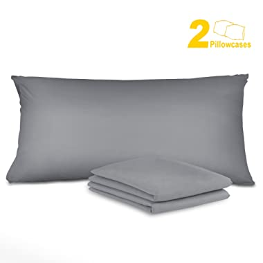 Sunnest 2 Pack Pillow Cases King Size 100% Microfiber Wrinkle Resistant Hypoallergenic Material Envelope Closure End Ultra Soft and Comfortable for Sleep (Grey)