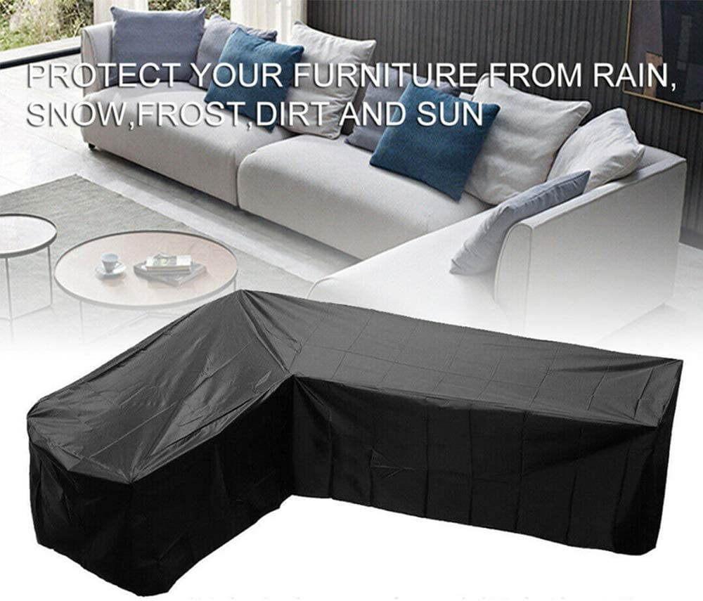 MeteorFlying L Shaped Garden Furniture Covers Polyester Waterproof Windproof Heavy Duty Outdoor Patio Corner Sofa Couch Dining Set Cover for Home Garden Furniture Protection 34.25in*84.65in*84.65in