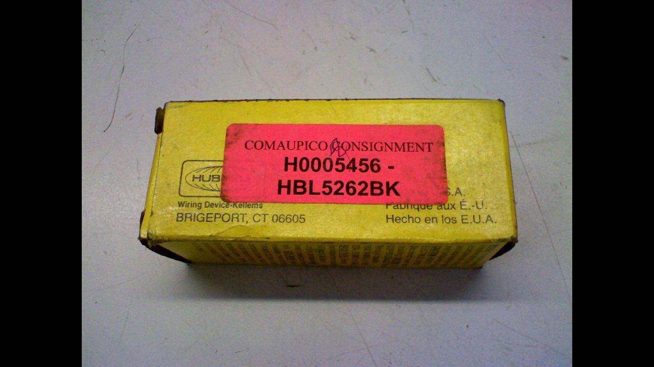 Hubbell HBL5262BK Duplex Receptacle, HD Industrial Grade, 15 amp, 125V, 5-15R, Black