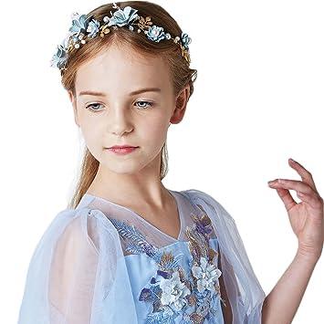 Amazoncom Sunzeus Children Headband Pearls Beaded Handmade Flowers