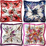 LilMents 4 Mixed Designs Large 35' × 35' Square Polyester Satin Neck Head Scarf Scarves Set (Set R)