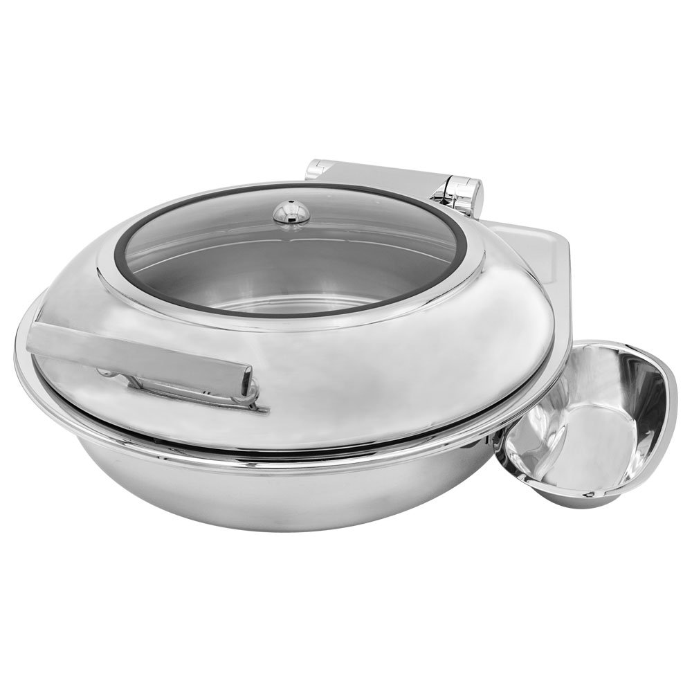 Cater Strong - 6 qt. Round Stainless Induction Chafer w/ Window
