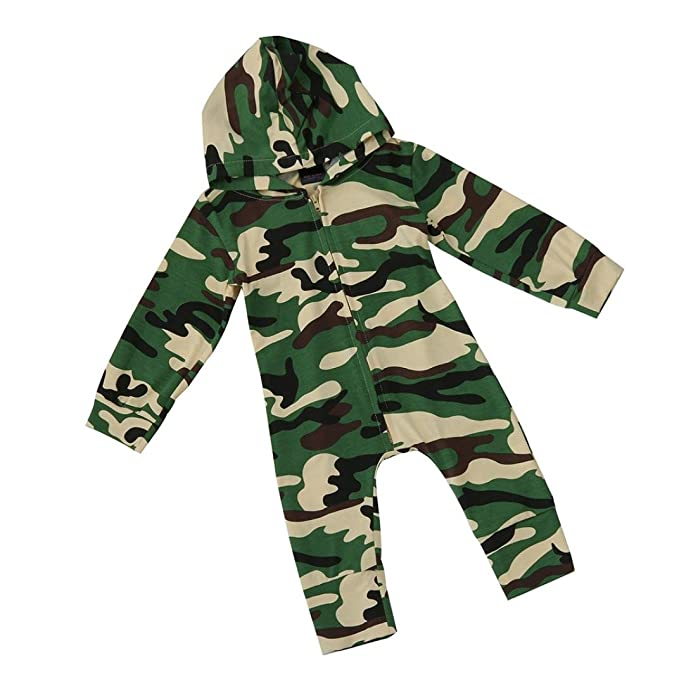 Camouflage, 12 Monat Baby Jungen M/ädchen Camouflage Print Kapuzen-Overall Overall Kleidung Outfits