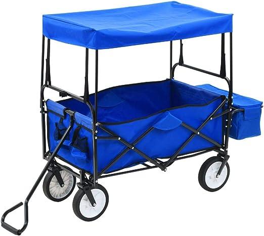 Tidyard Carro de Transporte Carretilla de Mano de Jardin Carrito de Mano Plegable de Acero con Capota Color Azul: Amazon.es: Hogar