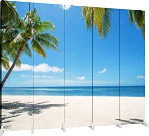 Dola-Dola 5 Panel Screen Room Divider Tropical Paradise Landscape Folding Canvas Screen Privacy Partition Indoor Separator Freestanding Protective Wall Divider