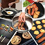 """CHERAINTI Grill Mat Oven Liner 70""""x16"""" Non-Stick Reusable Barbecue BBQ Mat, Cut to Any Size, for Gas Grill, Charcoal, Electric Grill, Electric Oven, Heat Resistant 14 SMOOTH 100% NON-STICK, EASY TO CLEAN: Thanks to the non-stick teflon material. You can simply rinse with warm water to rid all leftover foods, spills or dried on liquids. You can wipe over with a damp cloth and lay flat on the top rack of your dishwasher for easy cleaning. You will be happy to know that your grill mat 