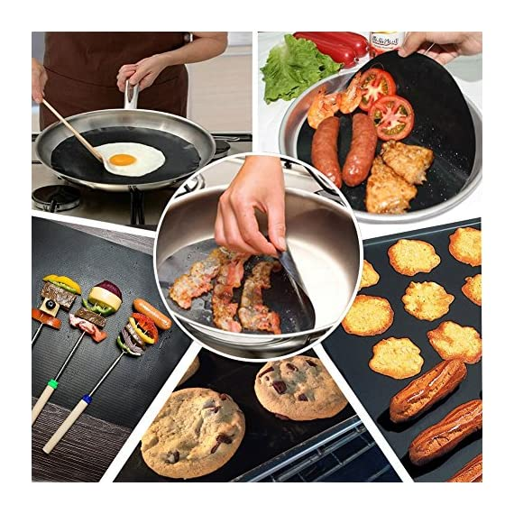 """CHERAINTI Grill Mat Oven Liner 70""""x16"""" Non-Stick Reusable Barbecue BBQ Mat, Cut to Any Size, for Gas Grill, Charcoal, Electric Grill, Electric Oven, Heat Resistant 6 SMOOTH 100% NON-STICK, EASY TO CLEAN: Thanks to the non-stick teflon material. You can simply rinse with warm water to rid all leftover foods, spills or dried on liquids. You can wipe over with a damp cloth and lay flat on the top rack of your dishwasher for easy cleaning. You will be happy to know that your grill mat 