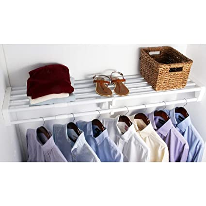 EZ Shelf Expandable Closet Shelf U0026 Rod With No Brackets, ...