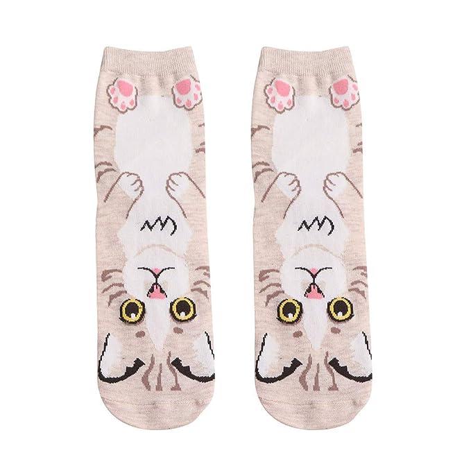 HCFKJ Calcetines Mujer Mujer Hombre Calcetines De AlgodóN Animal Gato Arte AnimacióN Personaje Regalo Lindo Vestido CalcetíN: Amazon.es: Ropa y accesorios