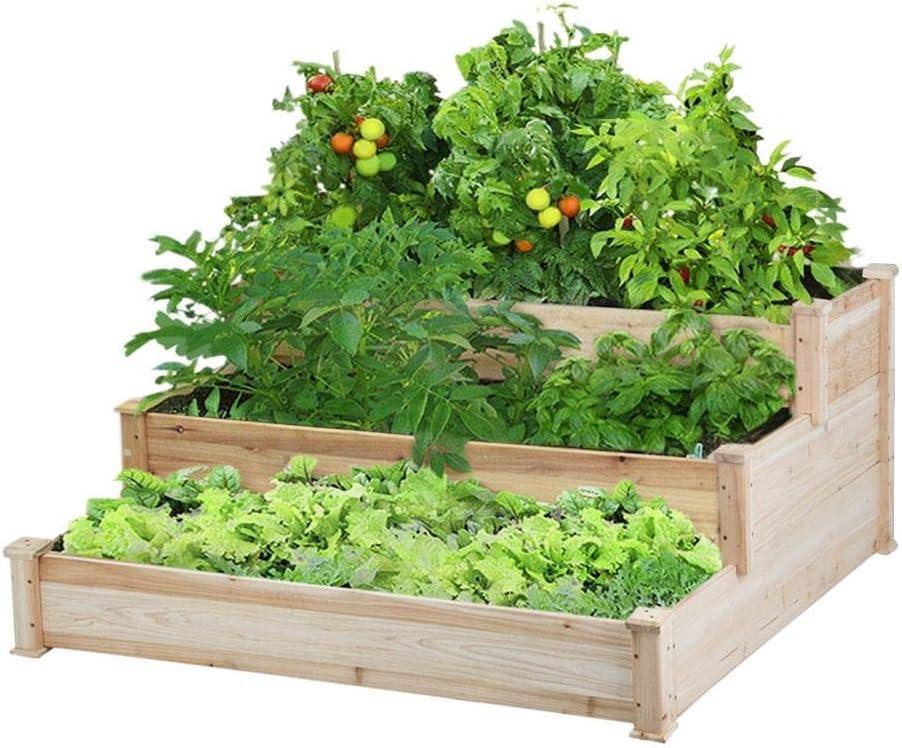 Renewed Yaheetech 3 Tier Wooden Raised Garden Bed Elevated Garden Bed Kit for Vegetables Outdoor Indoor Solid Wood 49 x 49 x 21.9in