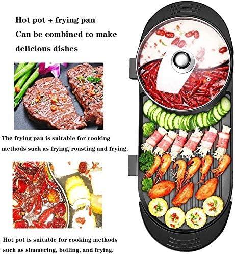 HWZQHJY Barbecue électrique Hotpot Grill Smokeless Bakeware Hot Pot Grilled Grand antiadhésif Barbecue Grill Machine à Kebab Korean BBQ intérieur