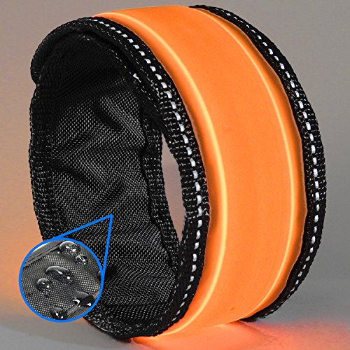Best Stilt Costumes (LED Slap Bracelet - Glow BAND by GlowHERO - Sweat Proof - Ultra Bright - High Visibility Safety Wristband - Replaceable Battery - Reflective Stitching - Fits Women, Men & Kids (Neon Orange))