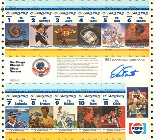 Dan Fouts Autographed Signed 1984 Chargers Football Uncut Season Ticket Sheet Signature - Beckett Authentic ()