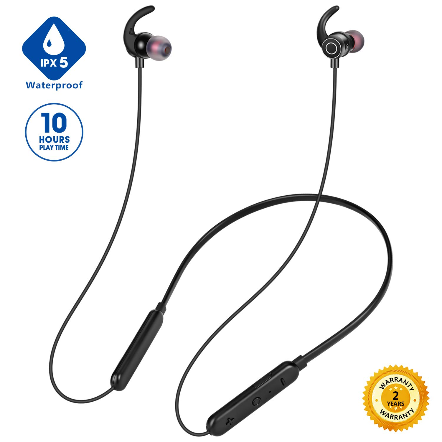 Neckband Bluetooth Headphones for Running, Upgraded Wireless Headphones  with Mic for iPhone Android, IPX5 Sweatproof Bluetooth Earbuds Wireless for