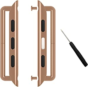 Linwood Metal Alloy Band Clasps/Lugs for Apple Watch Stainless Steel Iwatch Band Adapter Strap Connector with Screwdriver for Apple Watch Series 1 Series 2 Series 3 Series 4 (42mm, Rosegold)