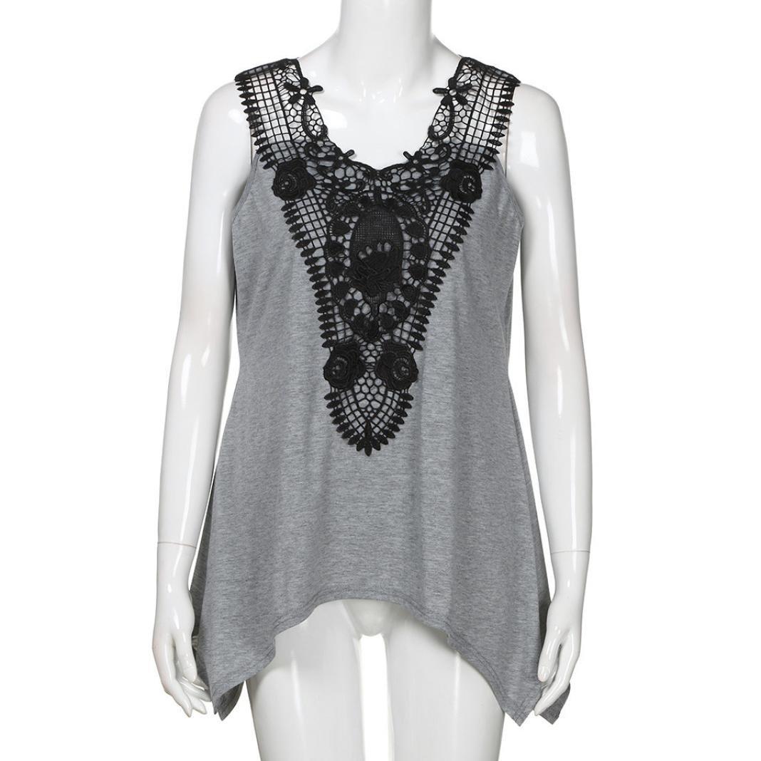 491c587ea9adbd Syban Women Sleeveless Irregular T-Shirt Plus Size V Neck Lace Trim Tank  Top T-Shirt at Amazon Women s Clothing store