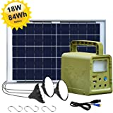 ECO-WORTHY 84Wh Battery Solar Generator Lighting System Kit, Portable Power Station with 18W Solar Panel, 3 LED Lamp for Outdoor Camping, Hurricane, Fishing, Power Outage, Home Emergency Power Supply