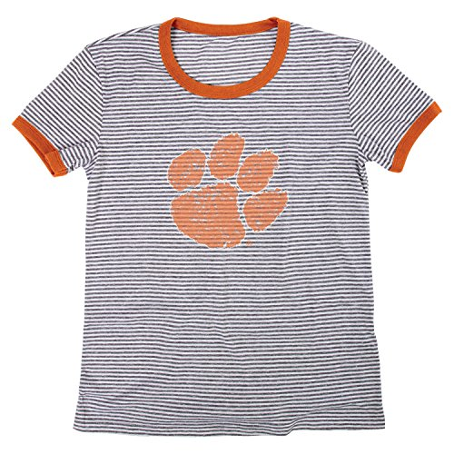 - Blue 84 NCAA Clemson Tigers Women's Tri-Blend Retro Stripe Ringer Shirt, Medium, Orange