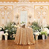 PartyDelight Sequin Tablecloth, Table Topper, Tree Skirt, Round, 50'', Light Gold