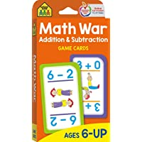 School Zone - Math War Addition & Subtraction Game Cards - Ages 6 and Up, Kindergarten, 1st Grade, 2nd Grade, Math Games…