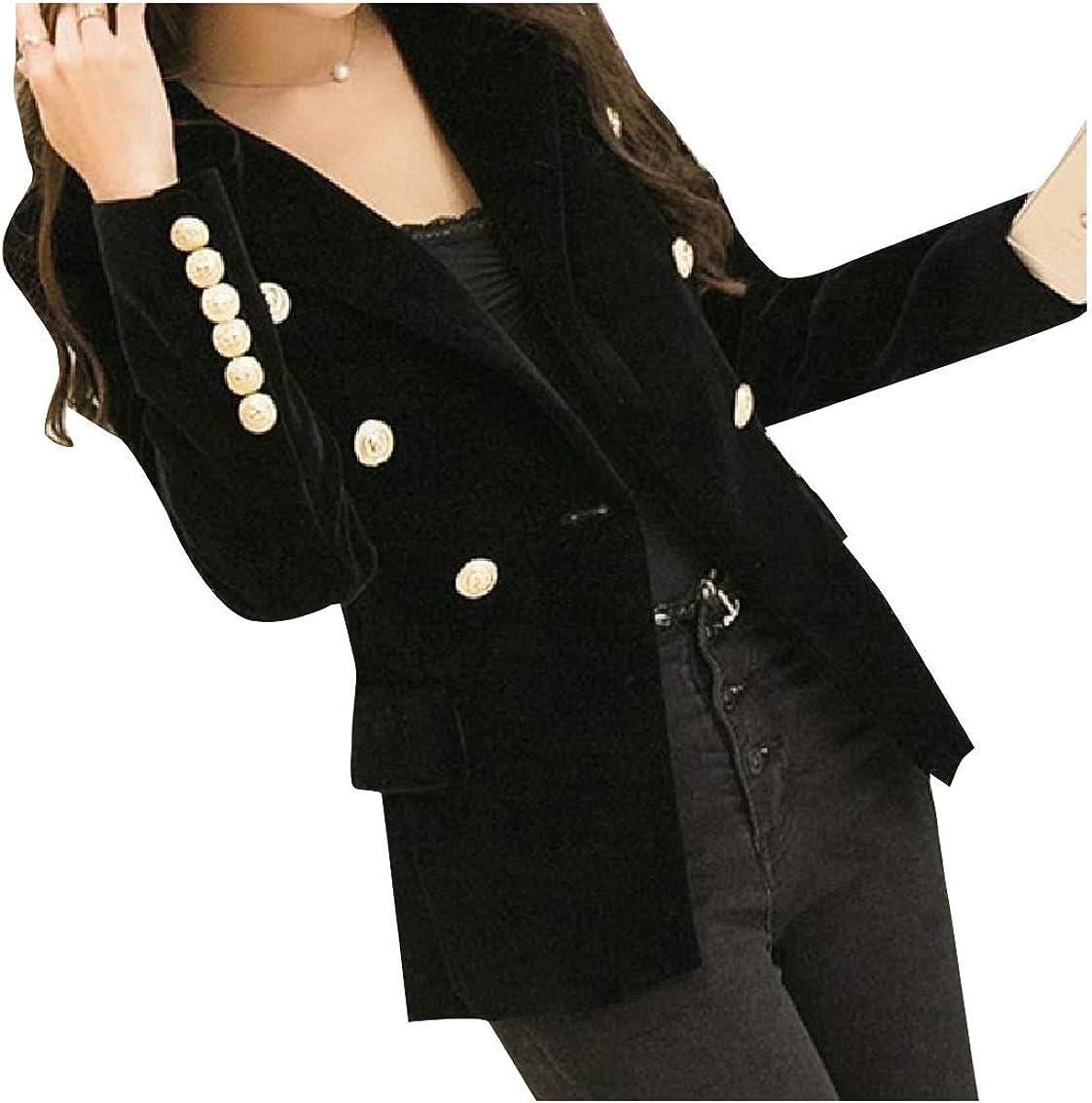 HEFASDM Women Slim Fit Open Front Velour Velvet Textured Sport Coat Black XL