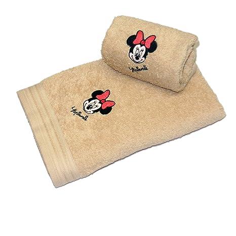 Disney 17278 - Juego de 2 toallas bordadas, diseño cara de Minnie, color visón
