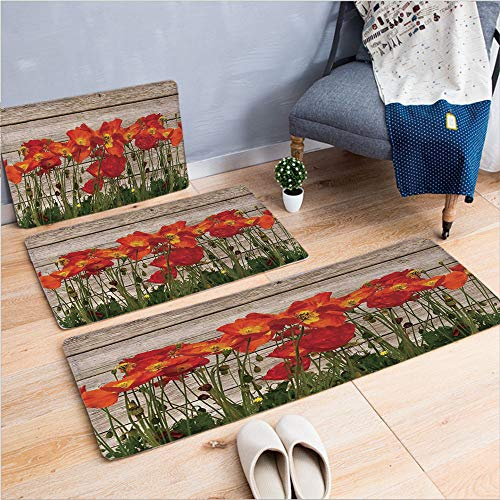 3 Piece Non-Slip Doormat 3d print for Door mat living room kitchen absorbent kitchen mat,Poppy Petals Field Meadow Summer Sun Plant Floral,15.7
