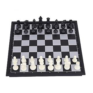 JADESHAY Set di Scacchi Jaques - Set di Scacchi magnetici con Scacchiera Pieghevole Caschetto di Scacchi Adatti a Scacchi Backgammon, Bianco e Nero