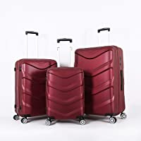 Stractic hard case trolley 3 pcs set with 4 wheel, 9705-Redwine