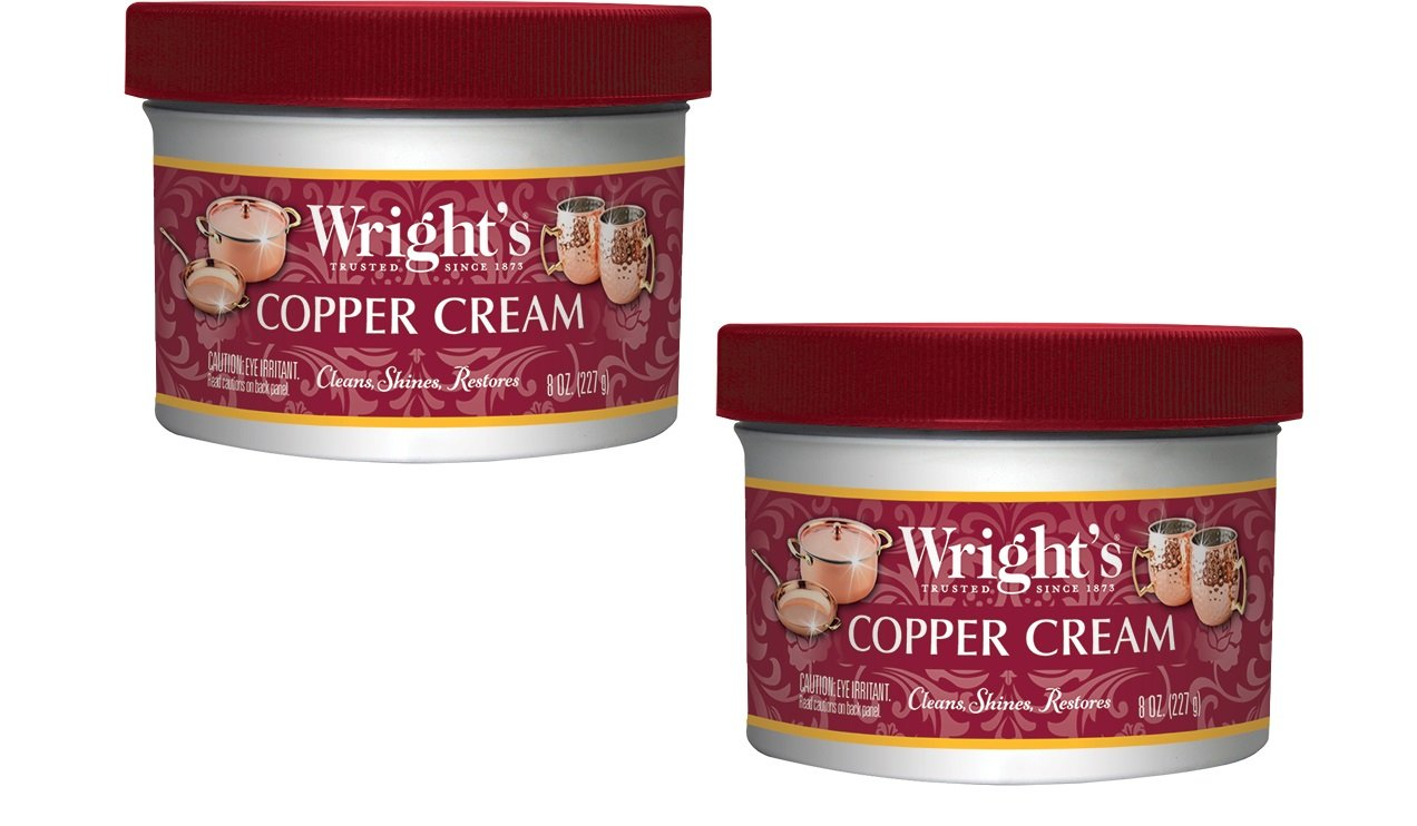 Wright's Copper and Brass Polish and Cleaner Cream- 8 Ounce - 2 Pack - Gently Clean and Remove Tarnish Without Scratching