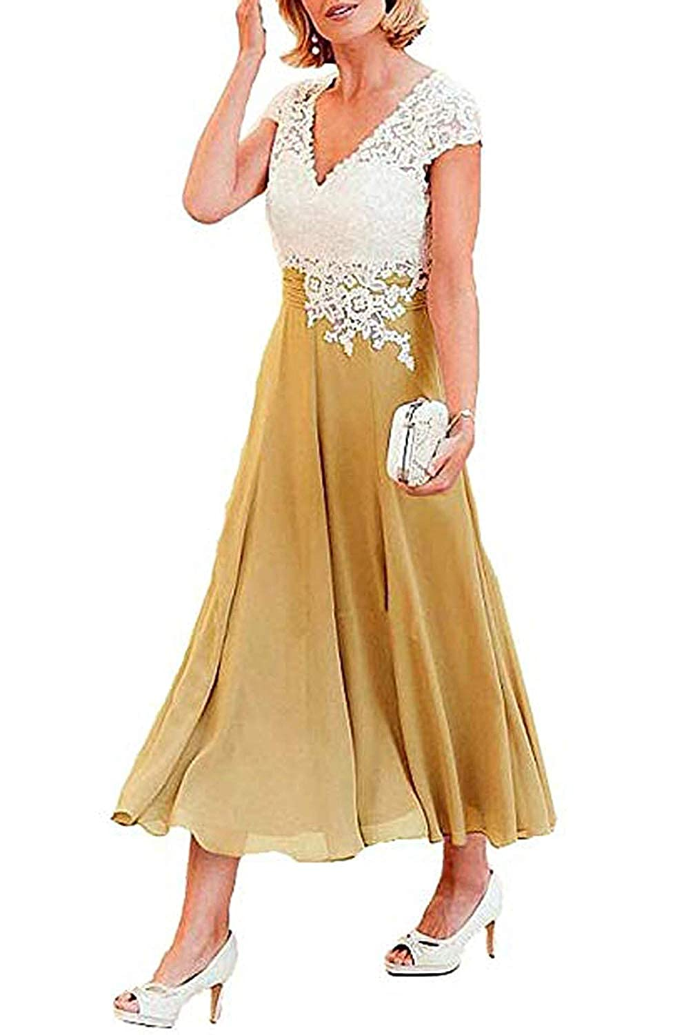A_gold ZLQQ Women's Tea Length Mother of The Bride Dresses Short Sleeve Formal Prom Gown Pocket
