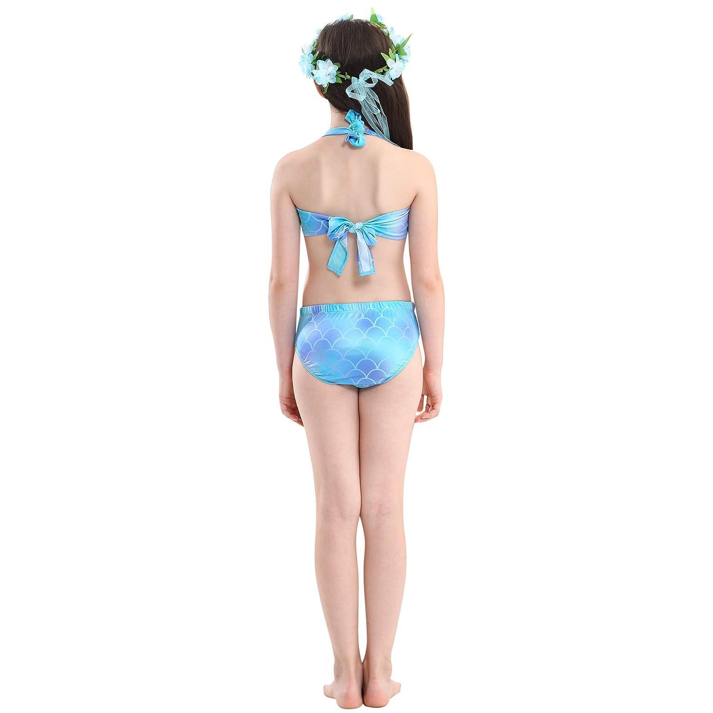lightskyblue 140 DecStore Costume Stabilito del Bikini dello Swimwear della Coda della Sirena del Costume da Bagno delle 3PCS delle Ragazze per Nuoto