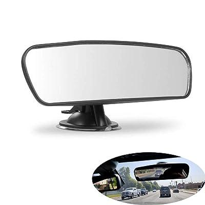 PME Rear View Mirror, Universal Car Truck Mirror Interior Rear View Mirror Suction Cup Rearview Mirror… (Plain Mirror, Width 21.5cm/8.5in): Automotive