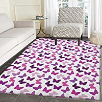 Butterfly Area Rug Carpet Abstract Retro Butterfly Silhouettes Floral Springtime Girls Theme Image Living Dining Room Bedroom Hallway Office Carpet 3x4 Pink Purple Lilac