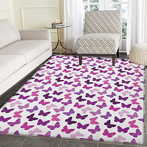 Butterfly Non Slip Rugs Abstract Retro Butterfly Silhouettes Floral Springtime Girls Theme Image Door Mats for inside Non Slip Backing 5'x6' Pink Purple Lilac
