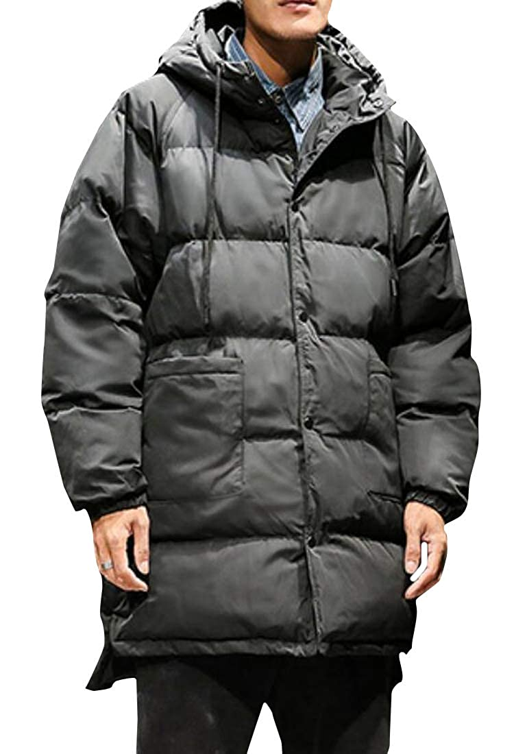 Jofemuho Mens Warm Loose Fit Winter Thicker Hooded Down Quilted Coat Jacket Outerwear