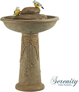 Serenity Ornamental Bird Bath Garden Water Feature Fountain Stone Effect (Height - 67cm)