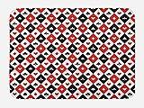 Lunarable Casino Bath Mat, Classical Game Pattern Gamblers Club Casino Theme Fortune Lucky Winner Poker, Plush Bathroom Decor Mat with Non Slip Backing, 29.5 W X 17.5 W Inches, Black White Red