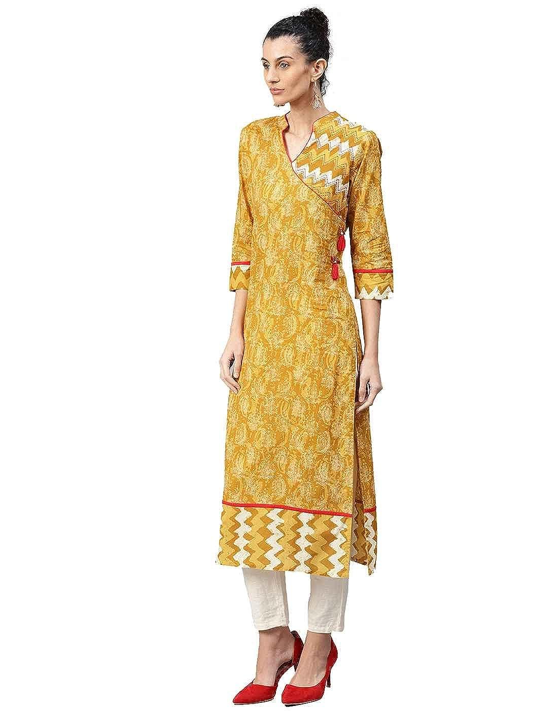 Jaipur Kurti Women Indian Casual Abstract Tunic Top Straight Cotton Kurta (Mustard)