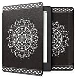 kwmobile Elegant synthetic leather case for the Kobo Aura H2O Edition 2 Aztec Flower in white black
