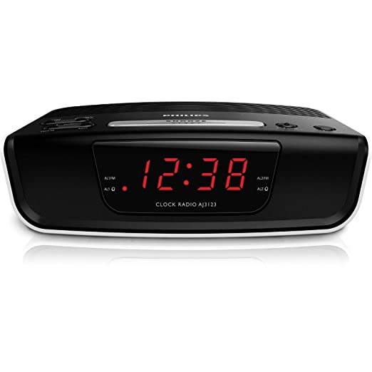 250 opinioni per Philips AJ 3123 Radiosveglia, Ampio Display, Sleep Timer, Nero
